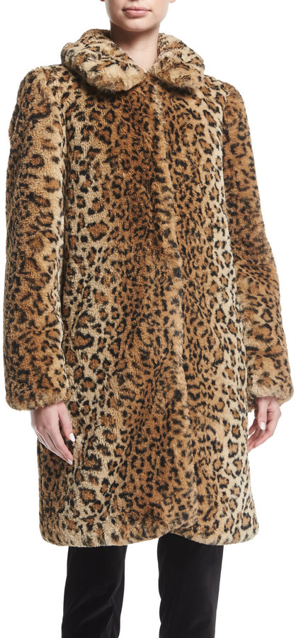 Alice + Olivia Kinsley Faux-Fur Oversized Long Coat