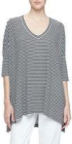 Eileen Fisher Dolman-Sleeve Striped Linen Tunic, Black/White, Plus Size