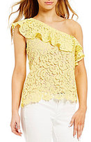 Blu Pepper Asymmetrical-One-Shoulder Floral Lace Top