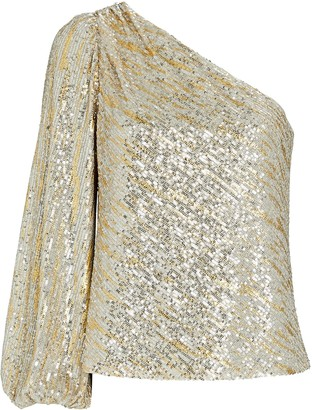 Saylor Felicity Sequined One-Shoulder Top