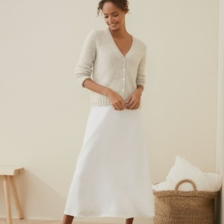 The White Company A-Line Hammered Satin Skirt, Ivory, 6