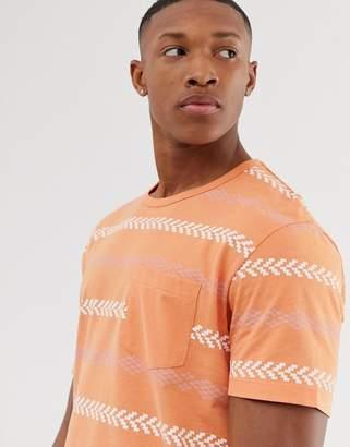 Jack and Jones Originals aztec print t-shirt in orange