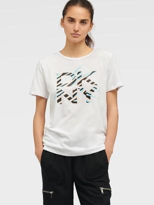 DKNY Women's Logo Stripe Glitter Tee - White Caribbean Muslin Mu - Size XS