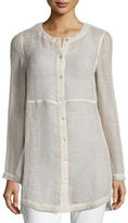 Eileen Fisher Woven Linen Mesh Round-Neck Top, Plus Size