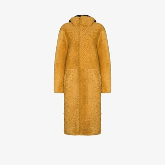 Bottega Veneta Long Shearling Hooded Coat