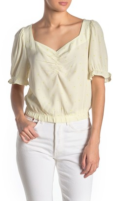 Elodie K Ruched V-Neck Elbow Sleeve Blouse