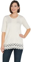 LOGO by Lori Goldstein Cotton Modal Top w/ Lace & Eyelet Panels