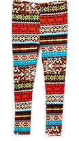 Beary Basics Red & Turquoise Fall Geo Leggings - Toddler & Girls