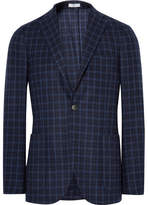 Boglioli Blue K-jacket Slim-fit Checked Wool Blazer - Midnight blue