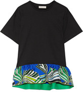 Emilio Pucci Printed Silk-trimmed Cotton Top - Black