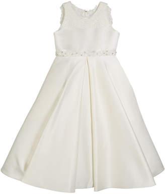 Joan Calabrese Lace-Trim Satin Dress, Size 4-14
