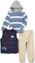 Kids Headquarters Navy Quilted Zip-Font Vest Set - Infant Toddler & Boys