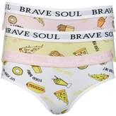 Brave Soul Womens Fast Food Print Three Pack Bikini Briefs White/Pink/Yellow