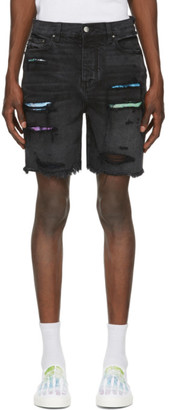 Amiri Black Denim Watercolor Trasher Shorts