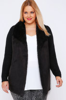Yours Clothing Black Chunky Knit Cardigan With Shearling Collar