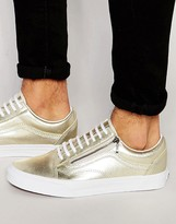 Vans Old Skool Zip Trainers In Gold V18gigy