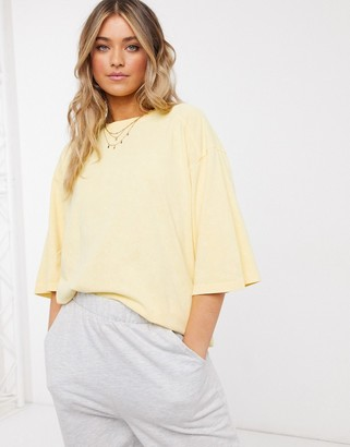 ASOS DESIGN super oversized t-shirt with stitch detail in washed straw