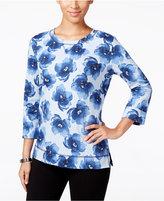 Karen Scott Petite Floral-Print Sweatshirt, Only at Macy's