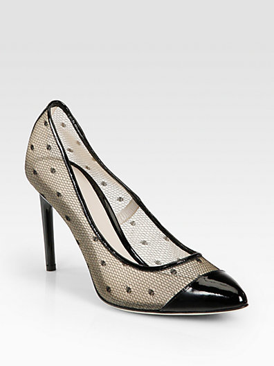 Jason Wu Dovima Patent Leather & Lace Mesh Pumps
