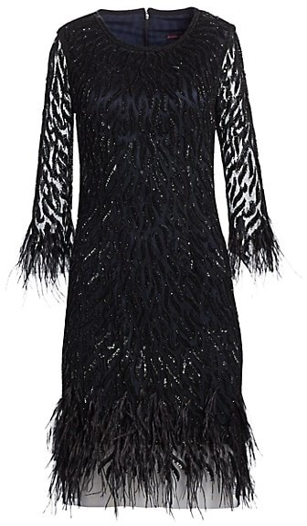 Joanna Mastroianni Sequin Feathered Cocktail Dress