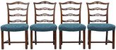 One Kings Lane Vintage Chippendale Ladder-Back Side Chairs - Set of 4 - Janney's Collection - dark brown/blue