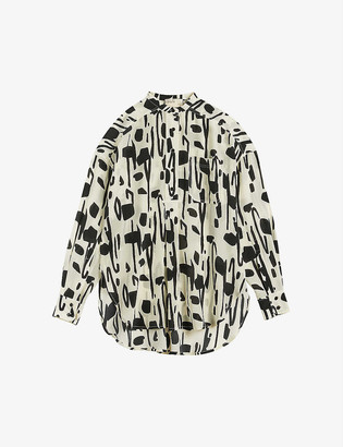 Ted Baker Mamther graphic-print silk shirt