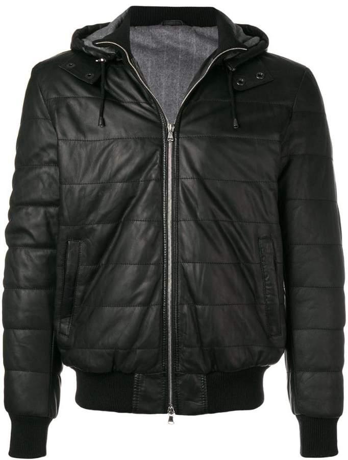 Barba hooded leather jacket