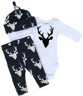 Aliven Newborn Infant Baby Girls Boy Deer Tops Bodysuit Long Pants Hat 3pcs Outfits Set