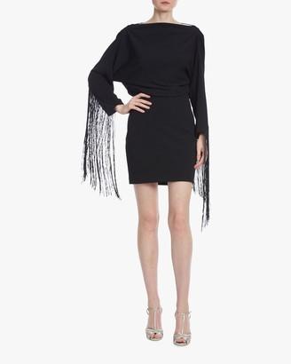 ONE33 SOCIAL Drape-Back Fringe Mini Dress