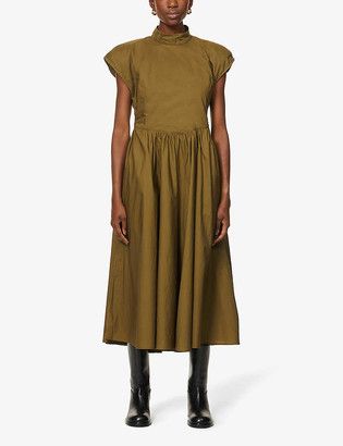Gestuz Cassia capped-sleeve organic cotton midi dress