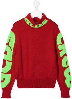 Gcds Kids TEEN logo knit jumper