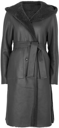 Anne Vest Greta grey reversible leather coat