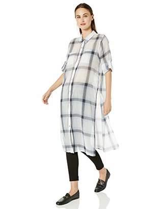 Calvin Klein Women's Long Plaid ROLL Sleeve Tunic