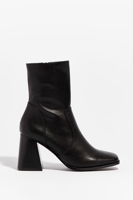 Nasty Gal Womens Walk With Me Faux Leather Block Heel Boots - Black - 5, Black