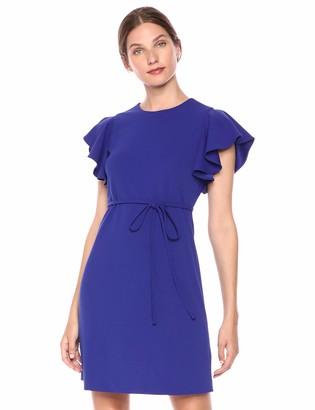 Calvin Klein Women's Flutter Sleeve Sheath with Self Tie Waist Dress