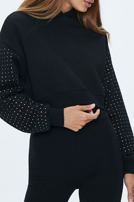 Forever 21 Dropped Studded-Sleeve Hoodie