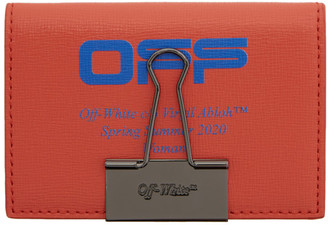 Off-White Red and Blue Logo Bifold Card Holder