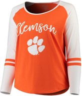 Unbranded Women's Orange/Gray Clemson Tigers Plus Size Long Sleeve Stripe Raglan T-Shirt