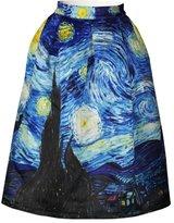Jiayiqi Flourishing New York City Landscape Stretch Waist Midi Skirt for Lady M