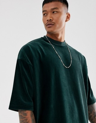 Asos Design DESIGN oversized t-shirt with half sleeve in ribbed velour in green