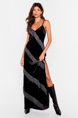 Nasty Gal Womens Boogie Wonderland Velvet Fringe Maxi Dress - Black - 4