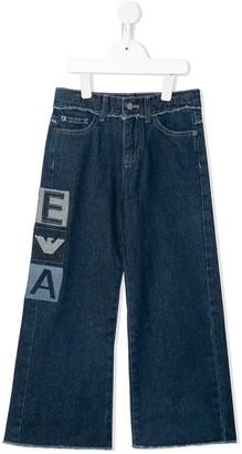 Emporio Armani Kids Logo-Patch Wide Jeans