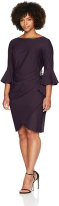 Alex Evenings Women's Plus-Size Short Slimming Sheath Dress with Bell Sleeves 16W