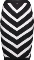 Balmain Zebra-print angora-blend skirt