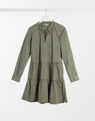 Noisy May tiered smock dress in washed khaki