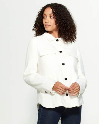 Jil Sander Natural Front Button Silk-Blend Jacket