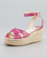 Jimmy Choo Pepper Patent Leather Espadrille Wedge Sandal, Pink