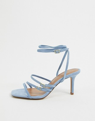 Who What Wear Everly buckle straps heeled sandals in blue leather