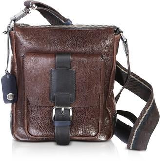 Chiarugi Dark Brown Leather Men's Crossbody Bag w/Front Pocket