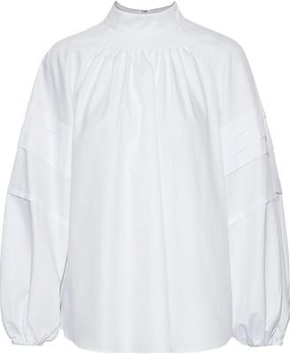 Adam Lippes Pleated Cotton-poplin Top